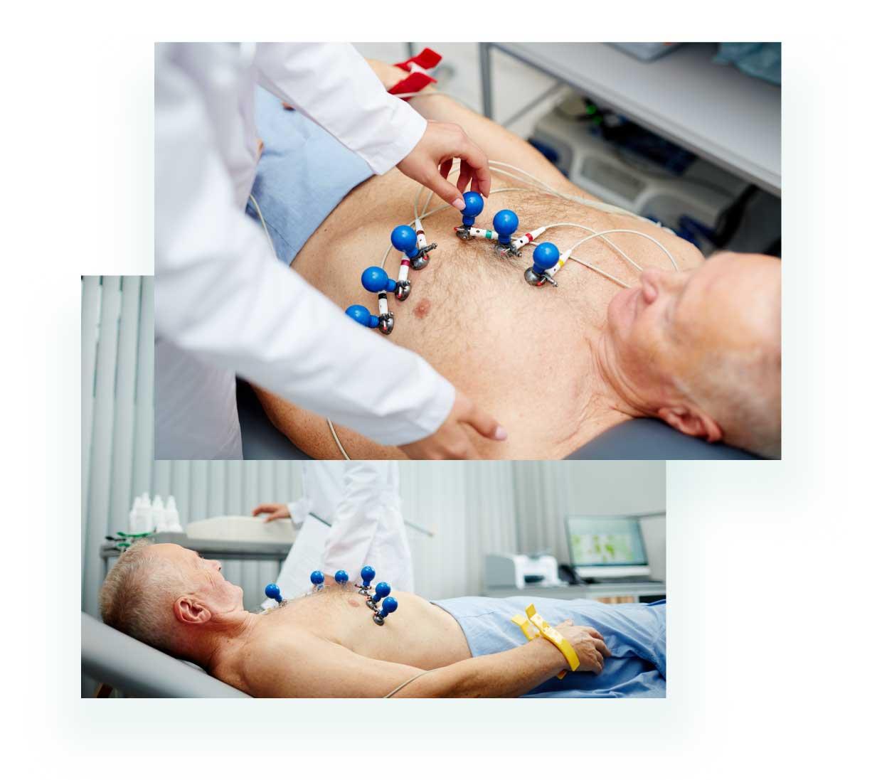 Exame de eletrocardiograma sendo realizado. Laudo de eletrocardiograma.