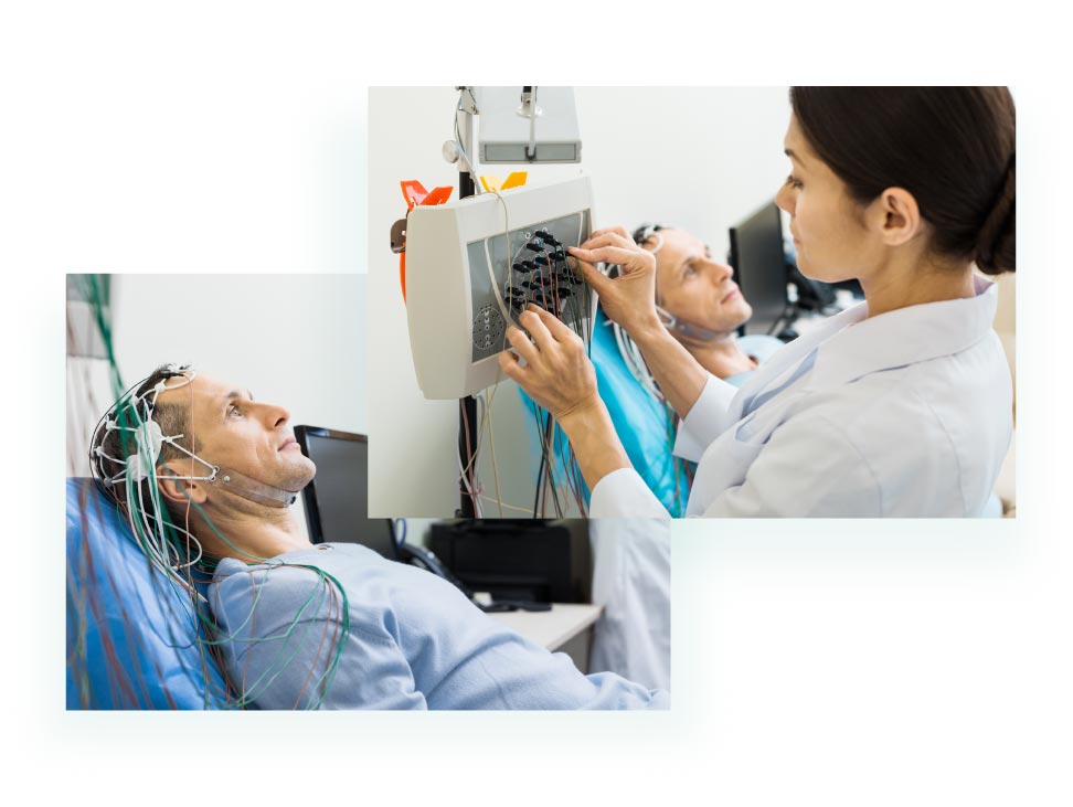 Exame de eletroencefalograma sendo realizado. Laudo de eletroencefalograma.